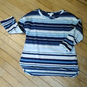 Coldwater Creek Blue White Stripes Shirt Size XS